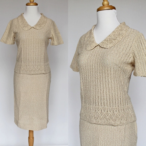 60's Sweater Set - Knit Skirt and Short Sleeved Sweater by Banff - XSmall