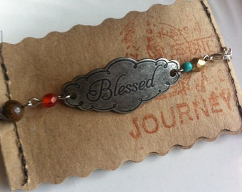 BLESSED Metal Engraved Bracelet