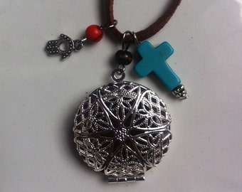 Essential Oil Diffuser Leather Locket Necklace with Turquoise Cross