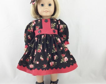 18 Inch Doll Fashions Long Sleeved Red Roses and Dots Matching Hair Bow