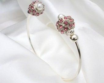 Pink Crystal Bead Bracelet Cuff, unique, contemporary design