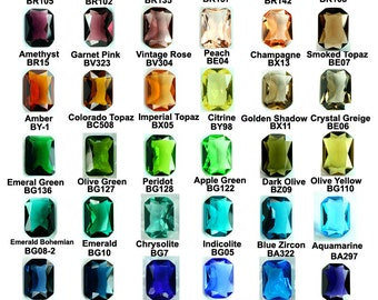 Hand Cut Glass Jewel 10x14mm Octagon Faceted Pointed Back - Pick Your Colors -4pcs