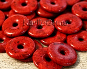 "Real Coral Red Donut Pendant Bead 1"" 25mm - 1pc"