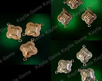 Victorian Cherry Blossom Flower Clover Stamping Connector Link Ornate Finding SF463- 4pcs