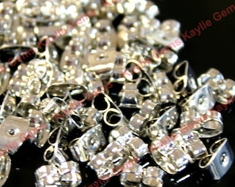 Earring Nut Butterfly Clutch Platinum Plated Over Brass- 50pcs