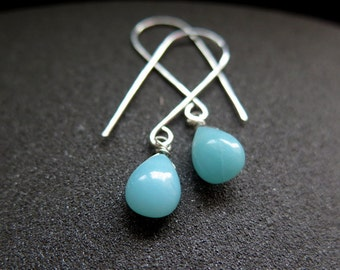 sky blue dangle earrings. amazonite jewelry in sterling silver.