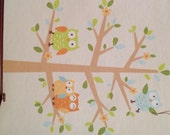 Last set.  Owls in a tree baby nursery wall decals. Woodland theme wall art.