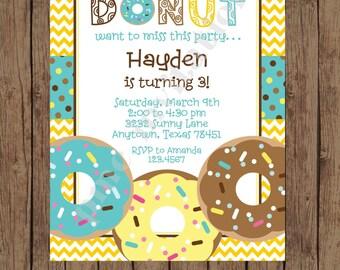 Custom Printed Donut Birthday Invitations - 1.00 each with envelope
