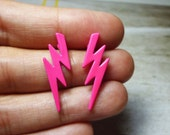 SALE - Solid Pink Lightning Bolt Stud Earrings