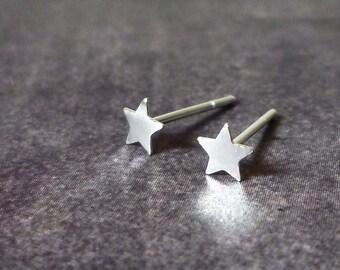 Silver Star Stud Earrings, Sterling Silver Star Earrings, Star Stud Earrings
