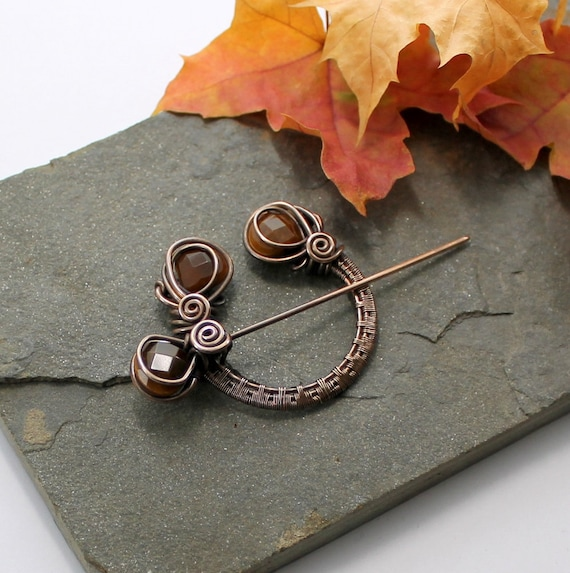 Penannular Brooch - Woven Bronze and Tigers Eye