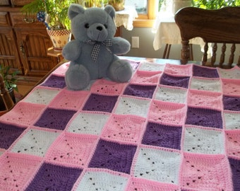Crocheted Baby Afghan Baby Blanket in Pink Purple and White
