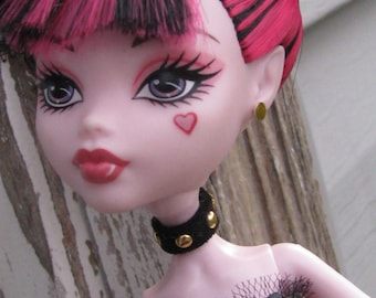 Studded Leather Choker  Doll Jewelry fits  Petite Slimline High Dolls  3 colors to choose from