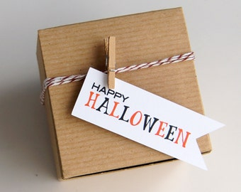 12 Halloween Favor Box Kit with Flag Tags . 3x3x2 Kraft Pinstripe Gift Box