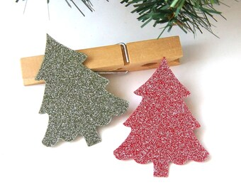 20 Christmas Tree Die Cuts in Silver Glitz Red & Green . 1.75 x 2.25