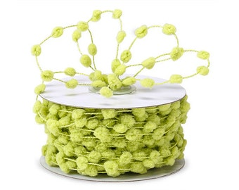 Lime Green Wired Pom Pom Ribbon . 5 yards