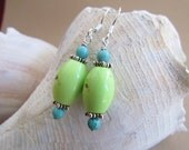 Apple Green Turquoise and Blue Howelite Earrings, handmade by Harleypaws