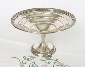 Sterling Silver Candy Dish Nut Bowl Pedestal Footed Compote Shape 4 Inch Tall 6 Inch Wide DIY Vintage Garden Wedding Heirloom Gift