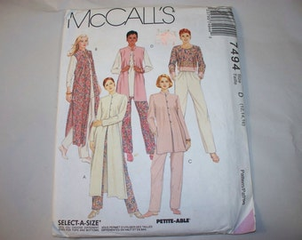 1990s, McCall's Womens Clothing Pattern 7494 (12-14-16) (Free US Shipping)