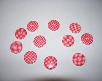 9 Red and White Glass Buttons, Lot 2627 (Free US Shipping)