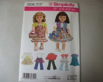"""New Simplicity 18"""" Doll Clothing Pattern, 3936 (Free US Shipping)"""