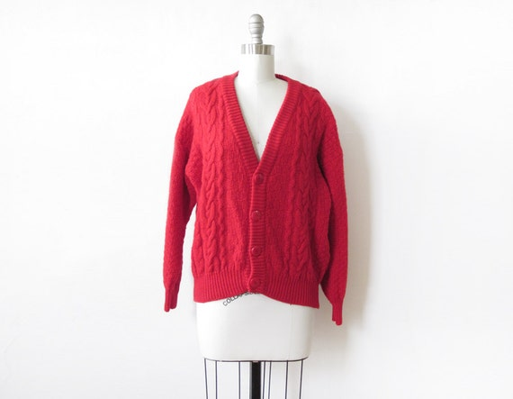 red cardigan, vintage benetton cable knit sweater, red wool sweater