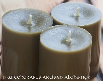 Pure True BAYBERRY Wax Pillar Votive Candles, Master Crafted by Witchcrafts Artisan Alchemy with 100% Real Baybbery Wax