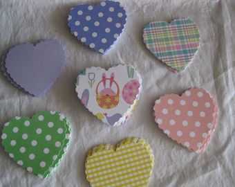 Easter colors hearts, gift tags, scrapbooking, thank you notes, place cards, 24 pc.