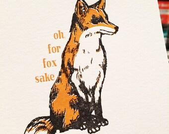 oh, for fox sake - single letterpress greeting card