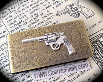 New Steampunk Money Clip Silver Gun Money Clip Men's Money Clip Antiqued Brass Money Clip New Wild West Gun Western Filigree Scroll Pattern