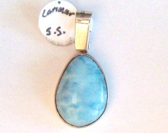 Beautiful Watery Blue Larimar Teardrop Pendant