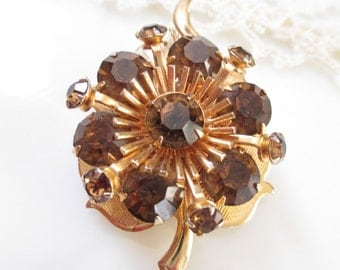 Vintage Brown Rootbeer Rhinestone Leaf Pin Brooch