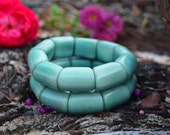 Soft Aqua: Beautiful Light Blue Tagua Bracelet, River Beads Collection / Eco-Friendly Jewelry, Nuts, Vegetable Ivory Jewelry / Gifts for her