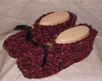 """Women's Handmade Knitted Burgnady Suede Slippers with """"Concho Size 6. 7. or 8"""""""