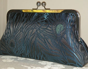 Peacock Feather Clutch/Purse/Bag..Silk Brocade..Black/Blue/Torquoise..Bridal/Wedding Wrap available..Free Monogram