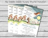 Vintage Nursery Rhyme Hey Diddle Diddle Baby Shower Invitation Personalized Digital Download C-614