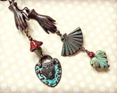 Vintage inspired, long asymmetrical earrings, heart and hands, Valentines Day
