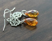 Orange and Pink Swarovski Crystal Teardrop Earrings, Sterling silver swirl connecters, Astral Pink, Autumn Sunset, Fall jewelry