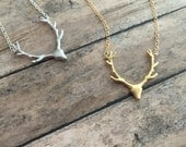 Deer head silhouette with antlers, Buck necklace, Woodland deer necklace, choice of silver or gold, forest creature, whimsical