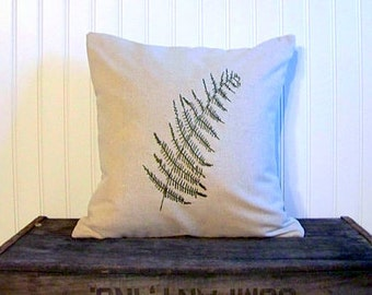 embroidered fern pillow cover/ olive green / fern / home decor / natural / nature / leaf / fern pillow / spring / summer /