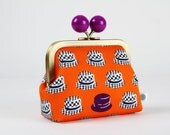 Metal frame coin purse with color bobble - Little hats on orange - Color dad / Boho Hipster Retro / Japanese fabric / Purple black white