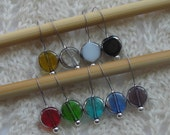 Cathedral glass beads - knitting stitch markers - snag free - 10mm colored glass beads - set of 9 - two loop sizes available