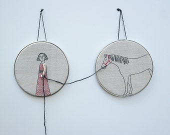 hand embroidery hoop art-  girl and her horse textile art fiber art
