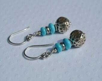 Sleeping Beauty Turquoise- Fine Silver Dangle Earrings