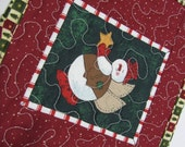 Christmas Snow Angel Mug Rug Mini Place Mat Snowman Red Green