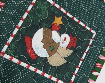 Quilted Christmas Mug Rug Mini Place Mat Snowman Angel Holly Red Green