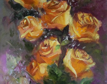 Still Life Oil Painting Peach Roses Pink Background 9x12 Canvas Art by Cheri Wollenberg