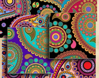 Printable downloads PAISLEY COASTERS Digital Collage Sheet 3.8x3.8 inch size Images for coasters, paper scrapbooking Art Cult graphics