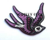 Swallow brooch Day of The Dead inspired by Dolly Cool Sparrow Tattoo Style