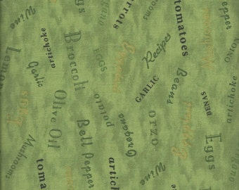 Price Reduced!  Potpourri Green Word Toss (26061-777) - BTY - South Seas